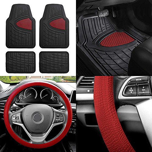 (FH Group FH-F11311 Premium Tall Channel Rubber Floor Mats w. FH3001 Snake Pattern Silicone Steering Wheel Cover, Burgundy/Black Color)