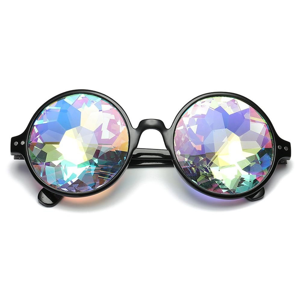 Tdmall Fashion Geometric Prism Rainbow Kaleidoscope Glasses Black Frame Party Bling Bling Crystal Prism Black