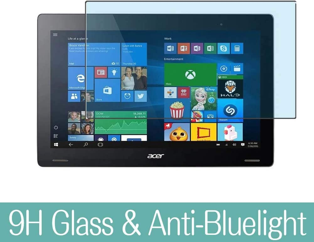 """Synvy Anti Blue Light Tempered Glass Screen Protector for Acer Aspire Switch 12 SW7-272 / SW7-272P 12.5"""" Visible Area 9H Protective Screen Film Protectors (Not Full Coverage)"""