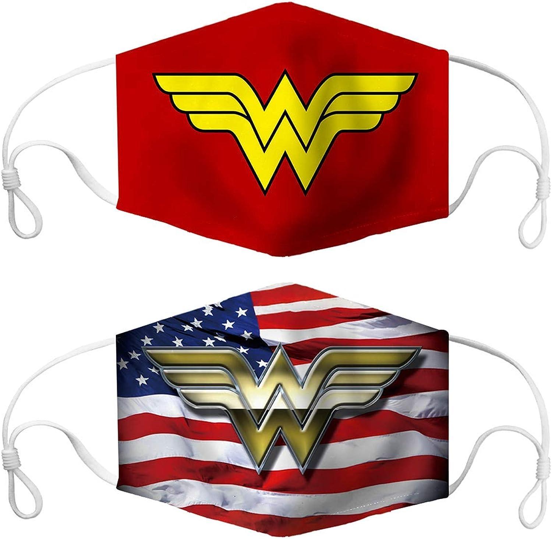 Wonder Woman Classic Logo Bandanas Face Mask 2 Pack Headwear Balaclava Face Cover Neck Gaiter for Outdoors Sports