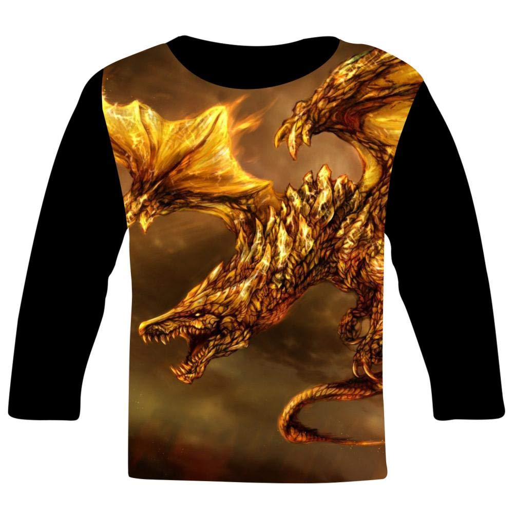 Kids Cool Electro Fire Dragon O-Neck T Shirts for Fashion Children Boys Girls Long Sleeve Tee Shirt