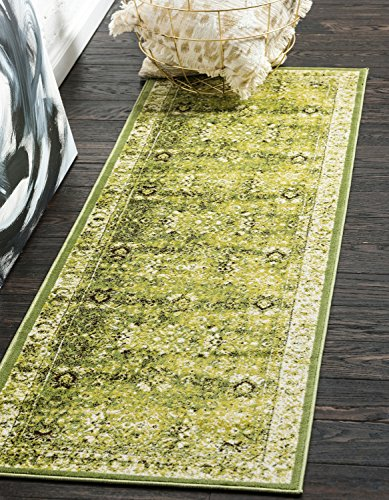 (Unique Loom Imperial Collection Modern Traditional Vintage Distressed Green Runner Rug (2' 0 x 6' 0))