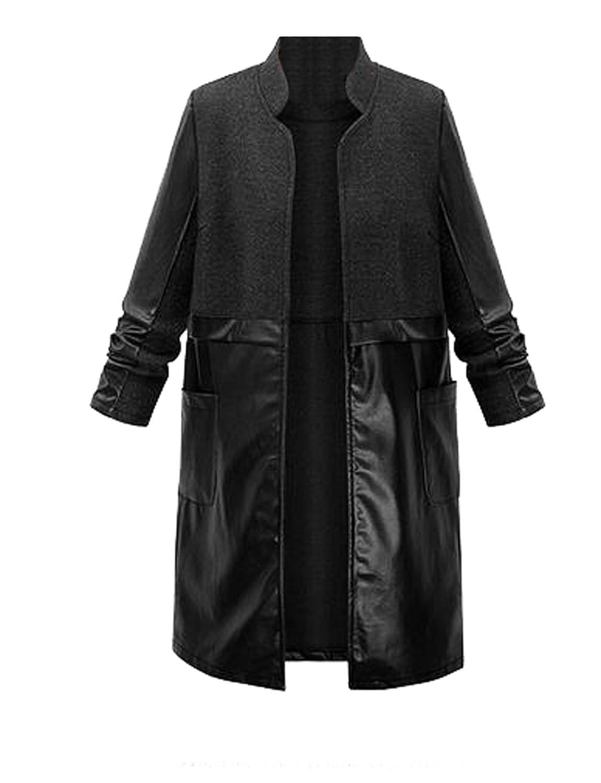 Generic Women's Winter Pu Leather Splice Wrap Long Trench Coat