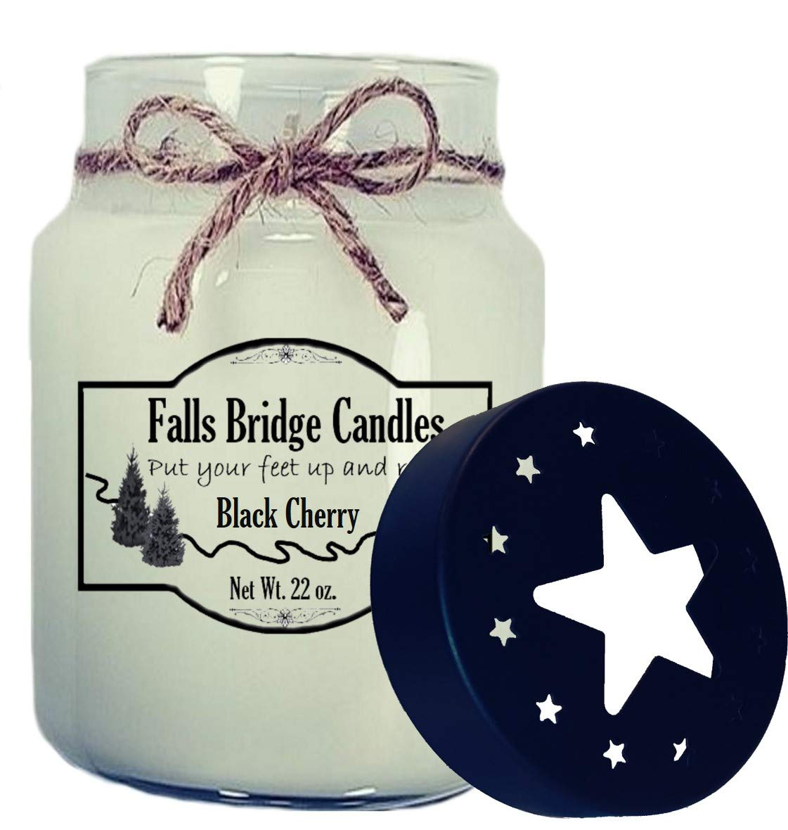 22 oz w//Star Lid Falls Bridge Candles BLKCHRY26S Black Cherry Soy Blend Scented Jar Candle