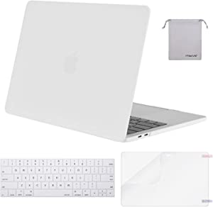 MOSISO MacBook Pro 13 inch Case 2019 2018 2017 2016 Release A2159 A1989 A1706 A1708, Plastic Hard Shell Case&Keyboard Cover&Screen Protector&Storage Bag Compatible with MacBook Pro 13, White