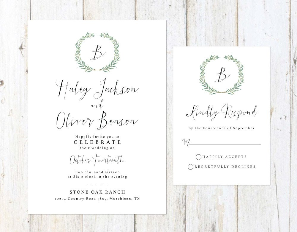 Green Wreath Wedding Invitation, Eucalyptus Wedding Invitation, Watercolor Leaves Wedding Invitation