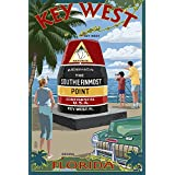 Key West, Florida - Southernmost Point (9x12 Art Print, Wall Decor Travel Poster)