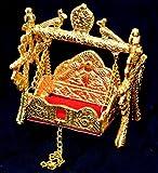 Ramneek jewels Metal Square Divya Shakti Ladoo Gopal Jhula (Golden, 699brETY)