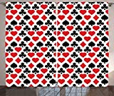 Casino Decorations Collection Card Suits Pattern with Clubs Diamonds Hearts Spades Poker Gamble Theme Image Living Room Bedroom Curtain 2 Panels Set Red Black White