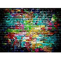 DODOING 7x5ft Colorful Brick Wall Silk Photography Backdrop Studio Prop Background(Updated Materia)