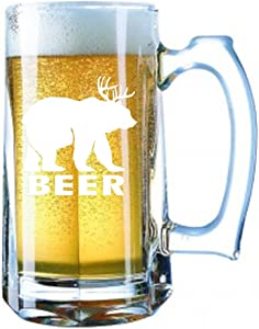 Giant Beer Mug 28 Ounces Personalized Beer Stein - Beer Deer Bear Sunny Mac Funny TV Pong Always