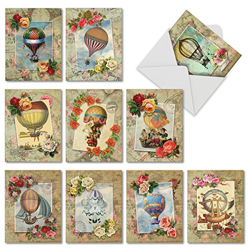 M4614OCB-B1x10 Timeless Travel: 10 Assorted Blank All-Occasion Note Cards Featuring Images of Vintage Style Hot Air Balloon Combined with Antique Looking Maps w/ Envelopes. (Map Note Card)