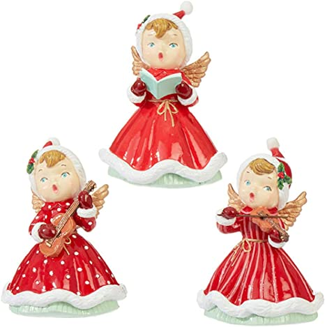 Amazon Com Raz Imports Reindeer Games 5 Angel Assortment Of 3 Festive Miniature Sculpture And Holiday Home Decor Christmas Figurine Decoration Home Kitchen