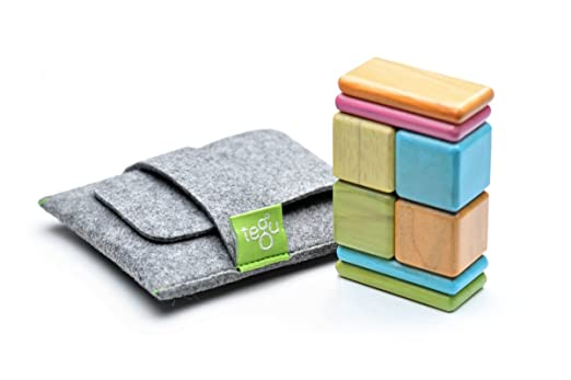 Great Baby Gift: 8 Piece Tegu Pocket Pouch Magnetic Wooden Block Set