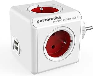 Allocacoc PowerCube Original USB Type E Interior 4AC Outlet(s) Rojo Base múltiple - Bases múltiples (Interior, 4 Salidas AC, Tipo E (FR), Rojo, CE, 16 A)