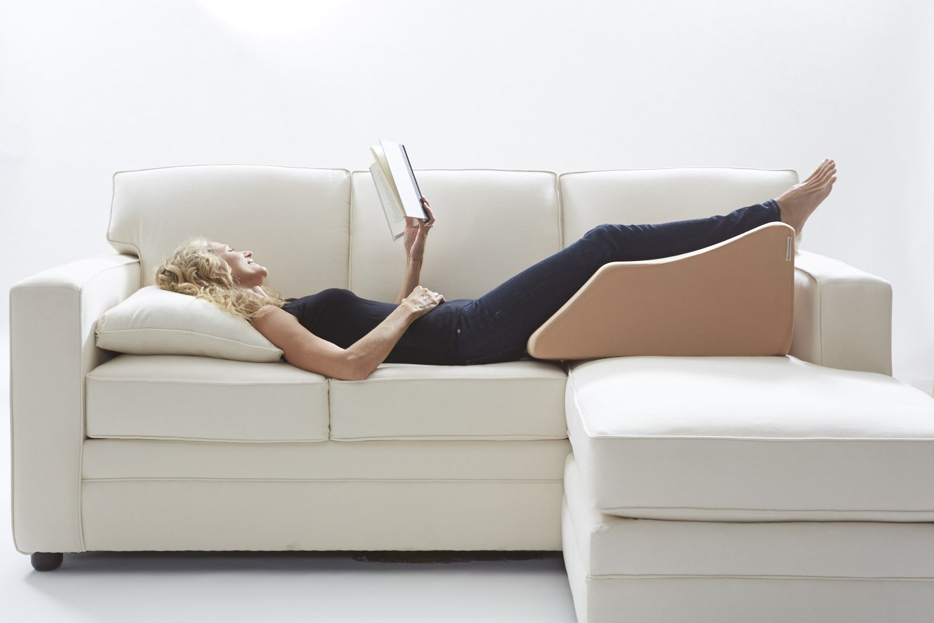 Lounge Doctor Elevating Leg Rest Pillow Wedge Foam w Cappuccino Cover Large Foot pillow Leg Support leg swelling vein issues lymphedema restless legs Pregnancy by The Lounge Dr. (Image #2)