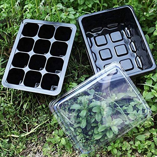 BeGrit 4pcs Semillero Bandeja de Germinacion de Plastico Plántulas Bandejas de Semillas con Agujero Etiquetas para Plantas en Crecimiento
