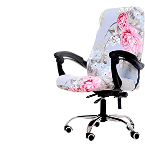 Deisy Dee Computer Office Chair Covers for Stretch Rotating Mid Back Chair Slipcovers Cover ONLY Chair Covers C162 (Blue Flower 1)