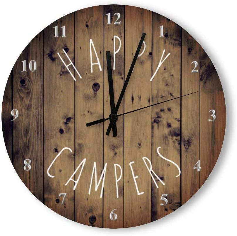 PotteLove 12 Inch Silent Vintage Wooden Round Wall Clock Non Ticking Quartz Battery Operated, Happy Campers Rustic Wood Retirement rv Camping Rustic Chic Style Wooden Round Home Decor Wall Clock