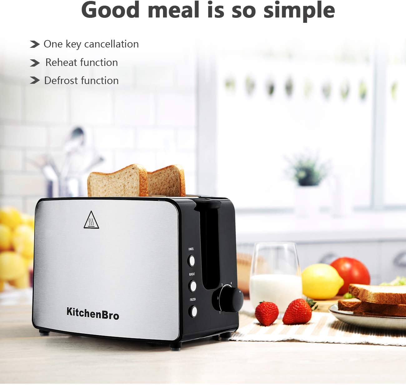 Toaster 2 Slice,Compact Bread Toasters Stainless Steel Housing best rated prime, 2 Extra Wide Slots