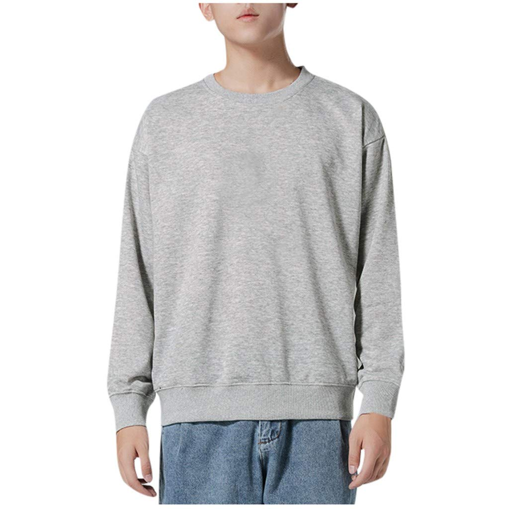 Men's Autumn Winter Long Sleeved Tops Solid Bottoming T-Shirts Gray by Badymin