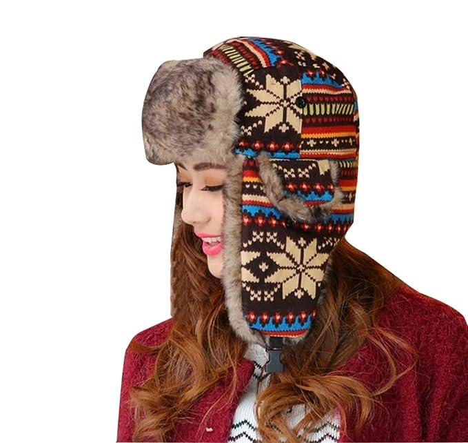 Baymate Unisexo Sombrero de Invierno Copo de Nieve Patrón Gorro con ...