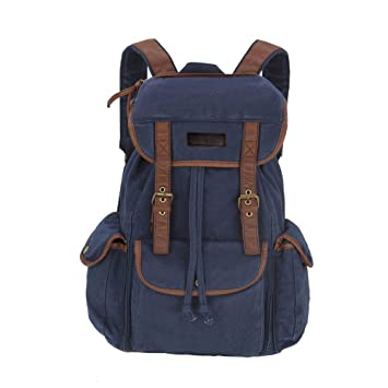 Koolertron Vintage Canvas Backpack Leather Trim Book Bag Rucksack Shoulder
