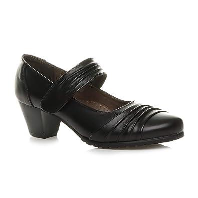 b206b1e3df0 Ajvani Womens Ladies mid Heel Comfort Leather Flexible Grip Sole Hook &  Loop Mary Jane Work Court Shoes Size