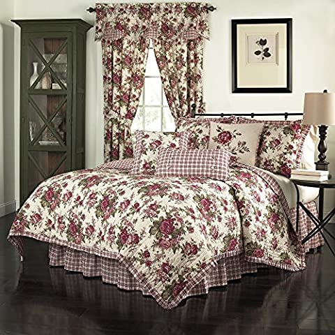 4 Piece Vintage Red Green White Full Queen Quilt Set, Floral Themed Reversible Bedding Flower Rose Antique Plaid Tartan Cottage French Country Shabby Chic Crimson Cream Beautiful Pretty Cabin, - Cottage Flower Bedding