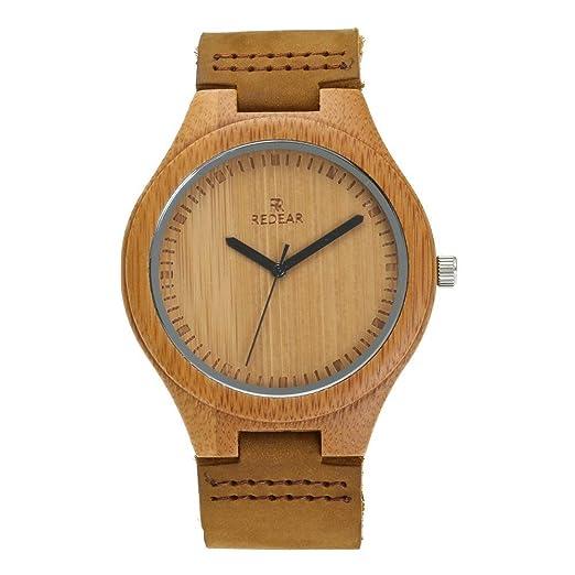 Juhaich madera reloj correa de piel auténtica madera de bambú Natural de la muñeca de madera reloj japonés movimiento de cuarzo para las mujeres y hombres: ...