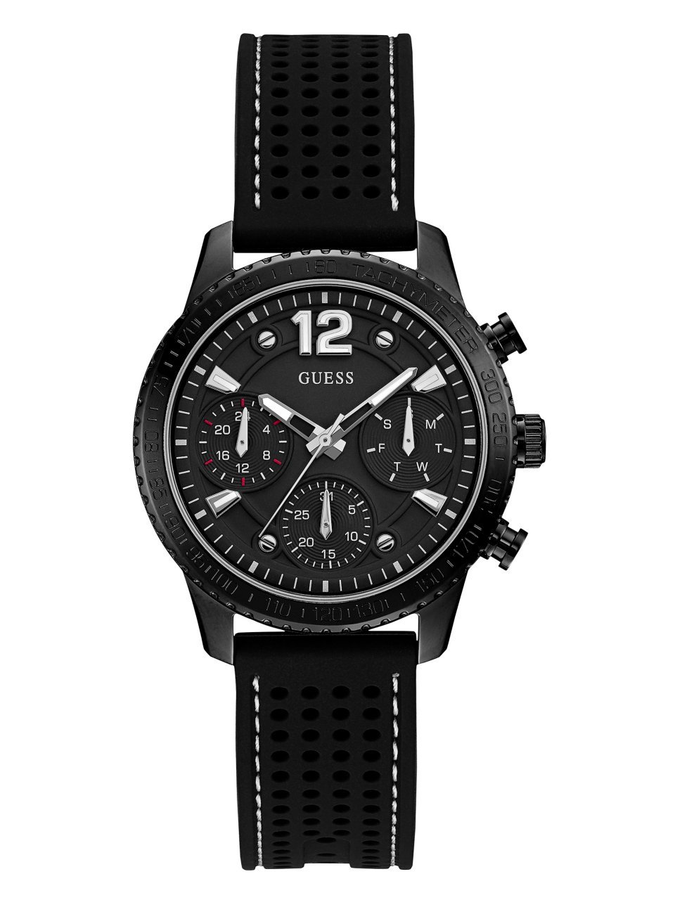 Guess Women's Stainless Steel Multifunction Silicone Casual Watch, Color Black (Model: U1025L3)
