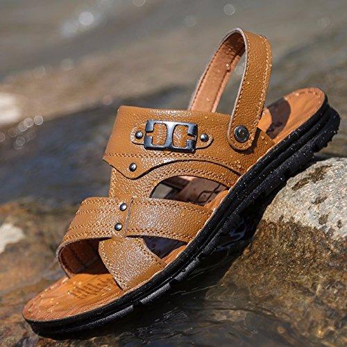 Sommer Das neue Echtleder Sandalen Männer Trend Schuhe Männer Lässige Schuhe Jugend Rutschfest Dualer Gebrauch Strandschuhe ,Gelb,US=6.5?UK=6,EU=39 1/3?CN=39