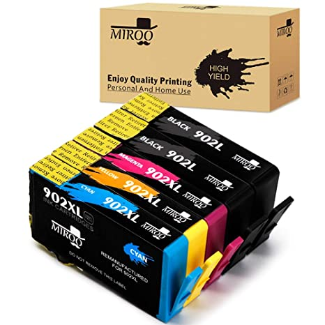 MIROO Remanufactured Ink Cartridge Replacement for HP 902XL 902 5 Pack,Work  on HP OfficeJet 6968 6978 6970 6975 6951 6954 6962 6960 6958 6860 6974