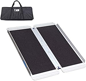 Ruedamann Non-Skid Threshold Ramp,Portable Aluminum Folding Wheelchair Ramp for Home,Steps,Stairs,Doorways,with Bag (3 ft)