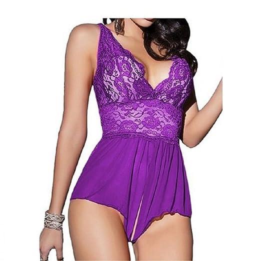 3af0b20cda Fashionmall Womens Sexy Lingerie Crotchless Tight Bodysuit Lace Miniskirt  Babydoll Nightwear (XXL