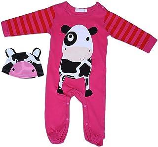Silveroneuk 2pcs Autumn Winter Baby Girl Boy Romper+Hat Set Cartoon Cow Infant Jumpsuit