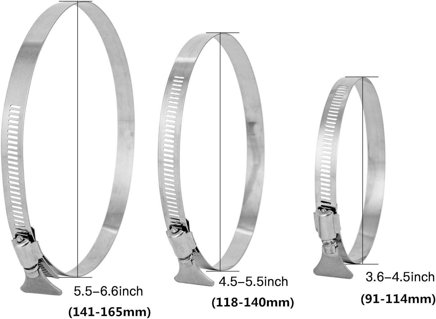 Di/ámetro 91-114mm Abrazadera de Manguera para Tubos Hon/&Guan Clips de Manguera de Acero Inoxidable con Mango Ajustable 2 piezas