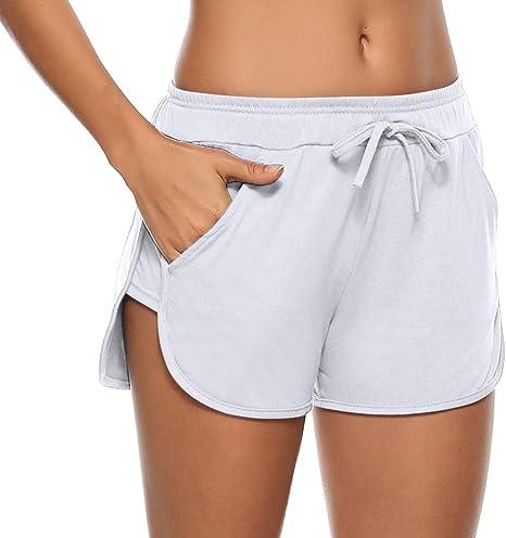 Aibrou Pantaloncini Sportivi Donna,100/% Cotone Shorts Casual Estivi a Righe Laterali per Sportivi,Corsa,Fitness