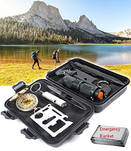 Emergency Survival Gear Kit, 10 in 1 Outdoor Survival Tool EDC with Fire Starter, Flashlight, Whistle, Compass for Camping Fishing Kit Travel Wild Adventure Earthquake Mountaineering Birthday Men Gift
