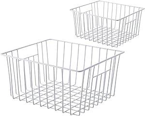 Freezer Organizer Bin, Kitchen Metal Wire Storage Basket, Pantry Cupboard Household Container Divider with Handles, Bathroom, Closet, Bedroom, Office, Rustproof - White(2)