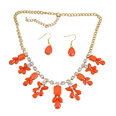 Amazon chandelier necklace earrings set coral jewelry sets or chandelier necklace earrings set coral aloadofball Images