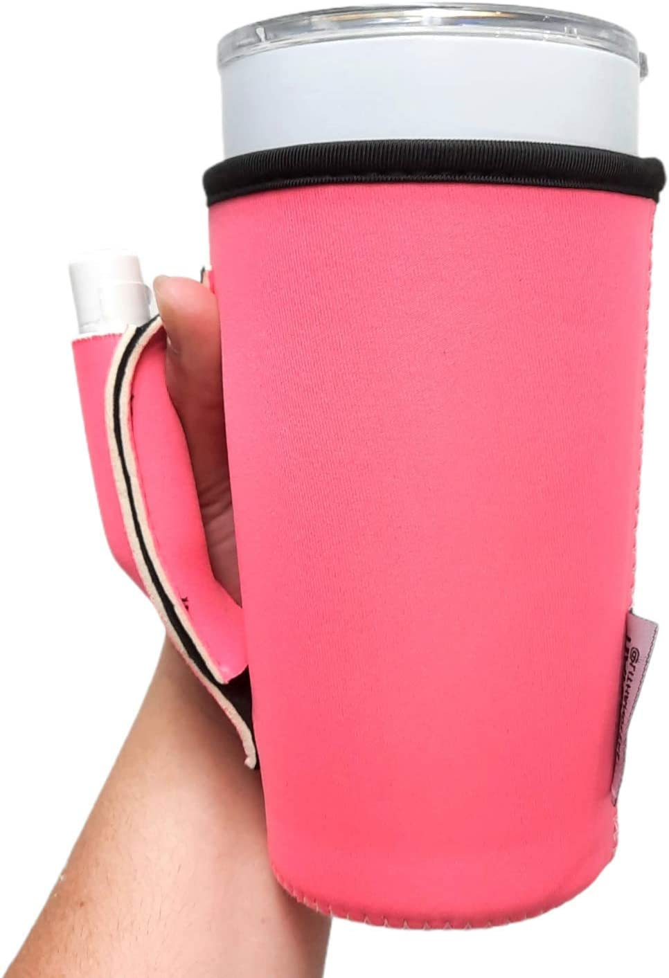 20oz Tumbler Handler with Pocket COMPATIBLE with Blender Bottles, 20oz Tumblers, Large Soft Drinks/Loaded Teas, Venti Coffee, patent pending (Neon Pink)