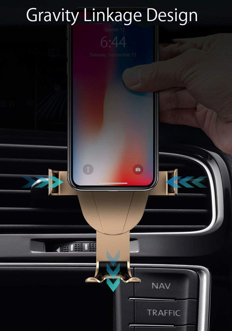 Black Qi Wireless Car Photo Charger Mount,Gravity Air Vent Fast Charging Cell Phone Holder Mobile Navigation Bracket Rotate 360 Degrees Mini Portable