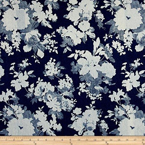 - TELIO 0455444 Stretch Denim Flower Print Dark Blue Fabric by The Yard,
