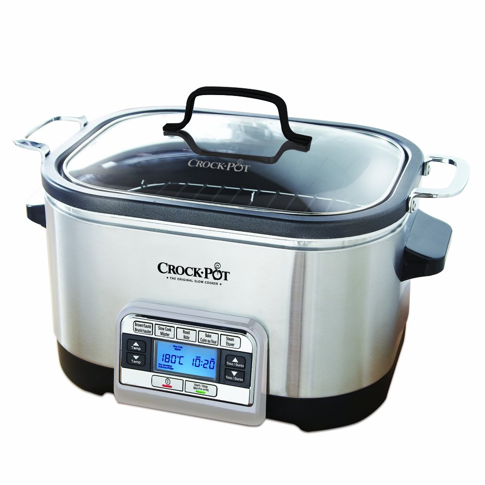 Crock pot 6 qt 5 in 1 multicooker stainless steel amazon ca home kitchen