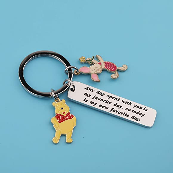 FOTAPP Winnie The Pooh Gift Any Day Spent with You is My Favorite Day Keychain Pooh and Piglet Gift Winnie The Pooh Fans Gift