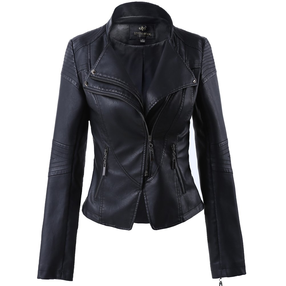 Women's Faux Leather Stand-up Collar Biker,Cropped Jacket