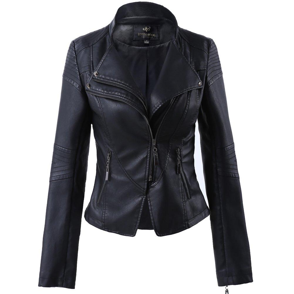 LLF Women's Faux Leather Stand-up Collar Moto Biker Short Jacket Medium Black