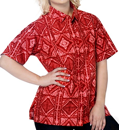 La Leela Cotton short sleeve button down button up cruise tropical carribean blouses Women's Hawaiian Shirt XL Red Fathers Day Gifts Spring Summer 201…