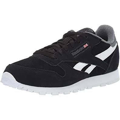 15f00d80bc3 Reebok Classic Leather Black True Grey Suede Youth Trainers Shoes ...